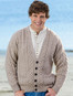 Merino Wool Aran Men's V-Neck Cardigan - Wicker