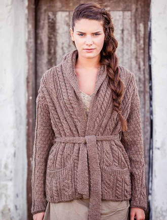 Shawl Collared Belted Cardigan - Brown