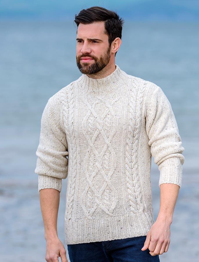c8489013478b Wool Cashmere Aran Mock Turtleneck Sweater - Chalk