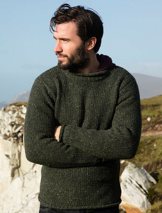 Roll Neck Sweater - Fisherman Sweater - Green