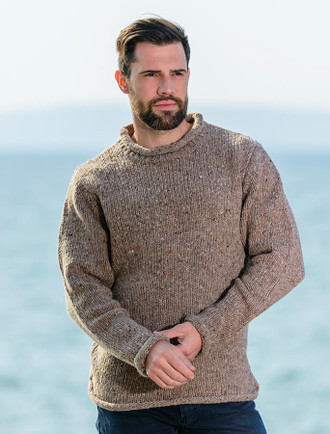 Roll Neck Sweater - Fisherman Sweater - Honey