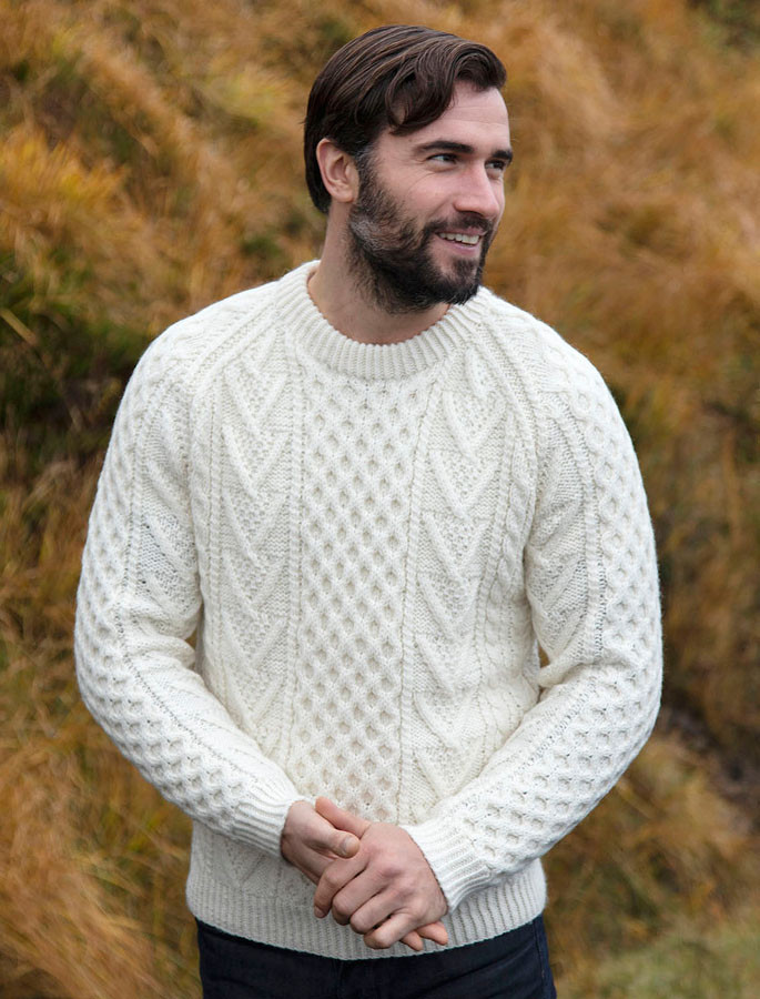 Mens Handknit Honeycomb Stitch Sweater , Natural White