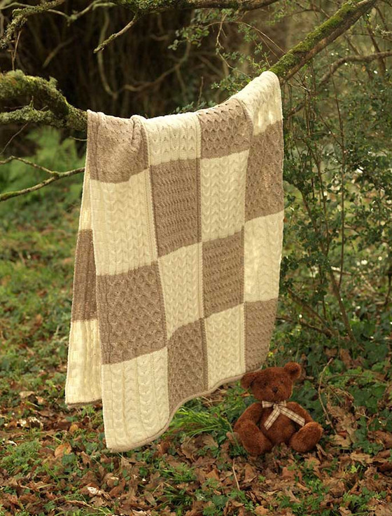 Two-Tone Aran Patchwork Throw - Wicker/White