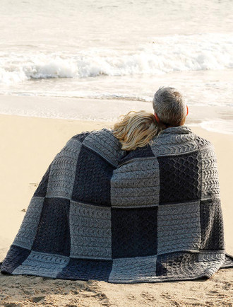 Two-Tone Aran Patchwork Throw - Derby/Grey