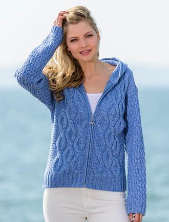 Women's Merino Wool Cable Knit Hoodie - Sky Blue