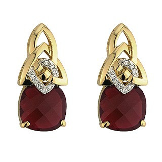 Gold Plated Crystal Celtic Knot Earrings - Ruby
