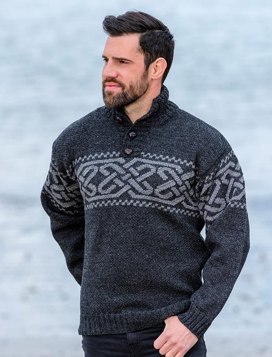Celtic Troyer Sweater - Charcoal/Grey