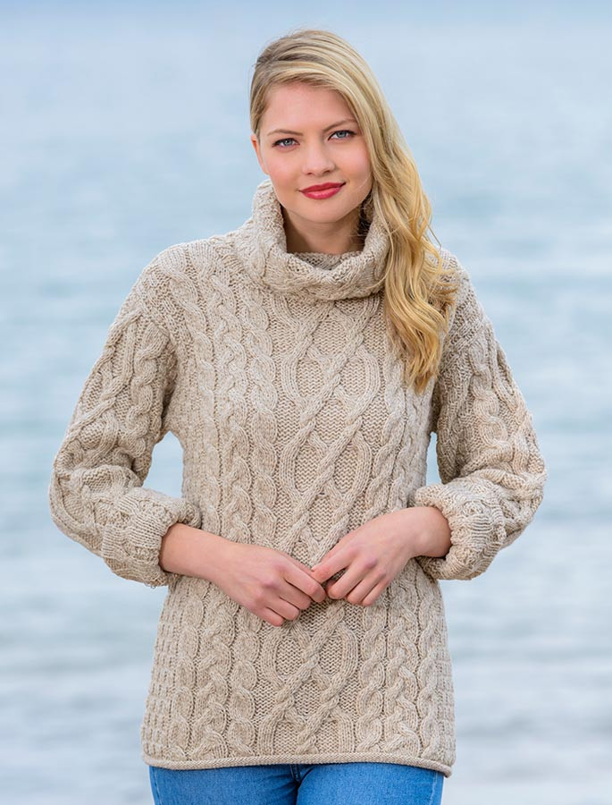 Womens Turtleneck Cable Knit Sweater