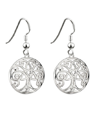 Rhodium Plated Tree of Life Earrings
