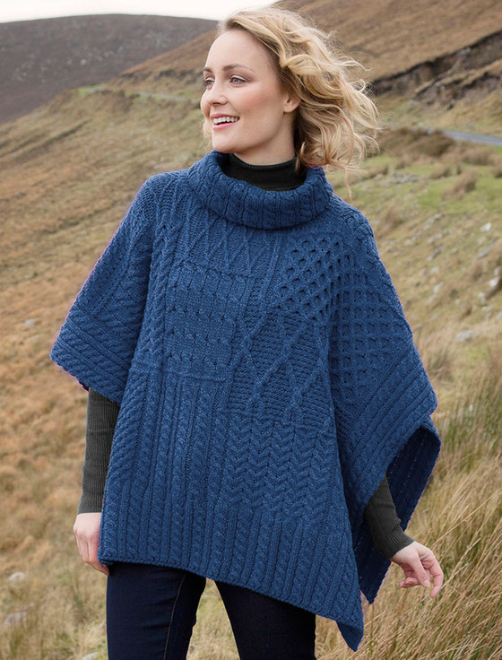 Merino Wool Patchwork Poncho with Collar - Denim