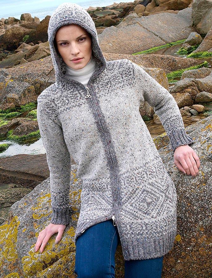 Fair Isle Coat Hooded Wool Coat Fair Isle Coat With Hood