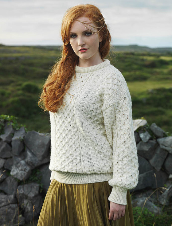 Women's Heavyweight Traditional Aran Wool Sweater - Natural White