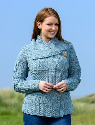 Patchwork Cardigan with Collar