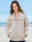 Double Collar Zip Merino Aran Cardigan - Parsnip