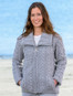 Double Collar Zip Merino Aran Cardigan - Soft Grey