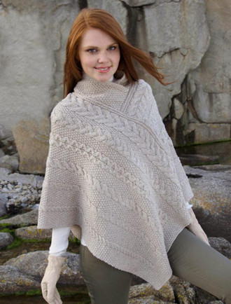 Aran Cable Poncho - Parsnip