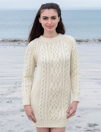 Aran Wool Sweater Dress / Long Tunic - White