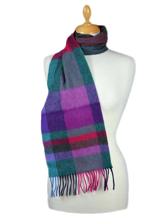 Narrow Lambswool Plaid Scarf - Green Fuschia
