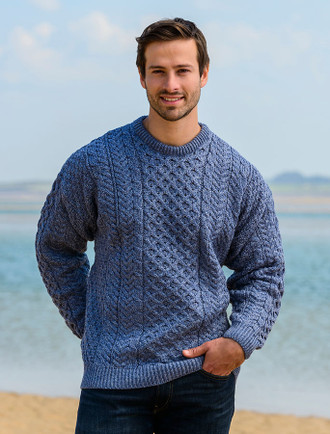 Men's Merino Aran Sweater - Denim