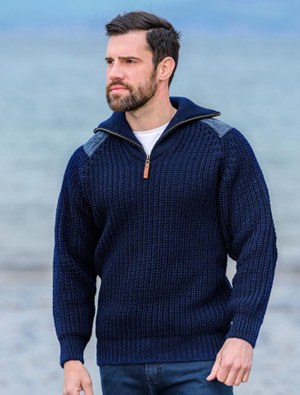 Fisherman's Half Zip Sweater with Patches - Navy