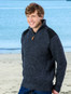 Fisherman's Half Zip Sweater with Patches - Charcoal
