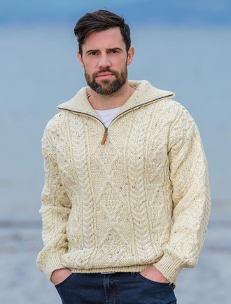 Aran Sweater with Zip Neck - White Fleck