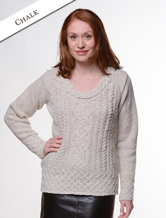 Wool Cashmere  Plaited Neck Sweater - Chalk