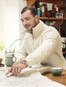 Mens Hand Knit Quarter Zip Sweater - Natural White