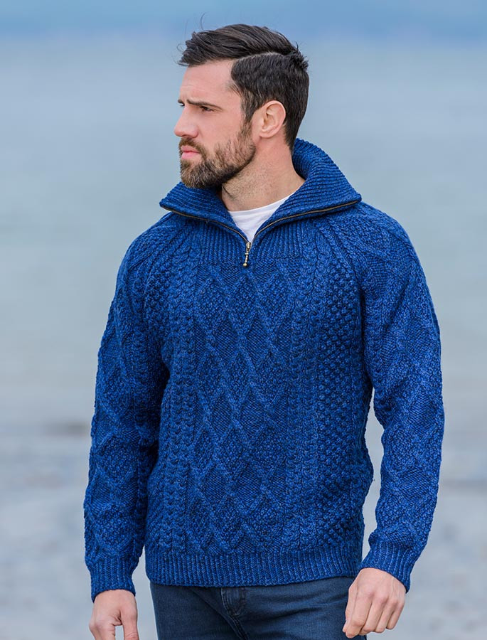 7eb3d734b5eef Mens Hand Knit Quarter Zip Sweater - Nighshade