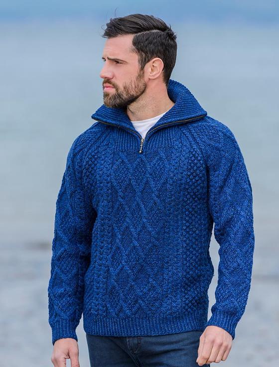 Mens Hand Knit Quarter Zip Sweater - Nighshade