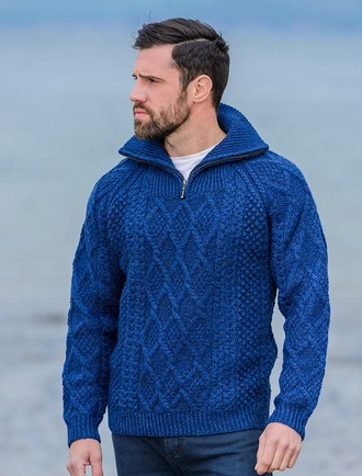 Mens Hand Knit Quarter Zip Sweater - Nighshade ... 4273e136e