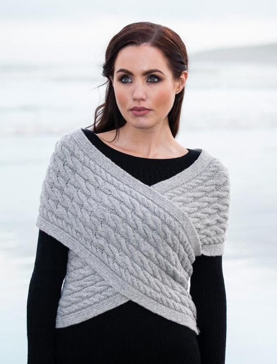 Wool Cashmere Aran Wrap with Buttoned Side - Pearl