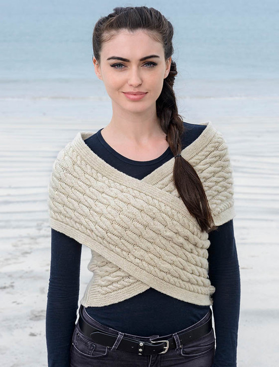 Wool Cashmere Aran Wrap with Buttoned Side - Oatmeal