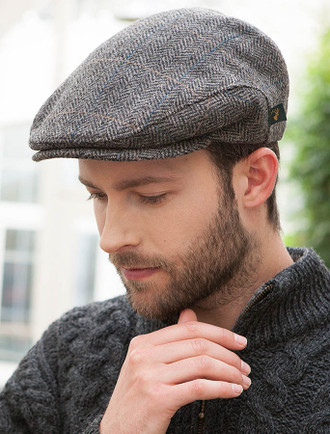 Trinity Tweed Flat Cap - Grey with Tan ... 32e08f922b5