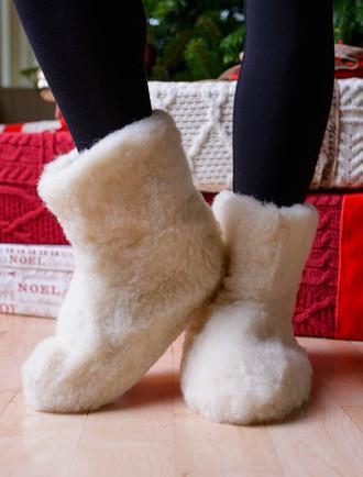 Merino Wool Booties - White