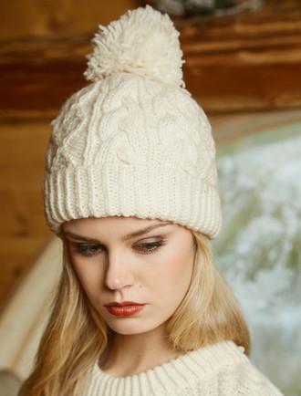 7957ecad12b86 Women s Wool Cashmere Aran Honeycomb Hat