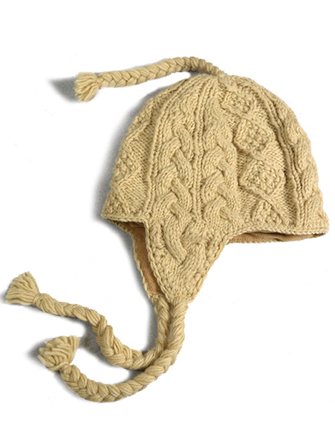19ceb83f821 Aran Cable Fleece Lined Hat with Ear Flaps - Beige