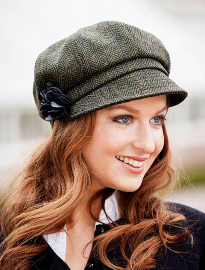 ... Ladies Tweed Newsboy Hat - Dark Green Plaid. Image 1 e9814354596