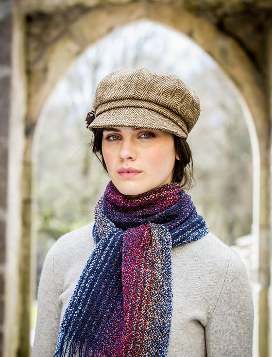 Ladies Tweed Newsboy Hat - Light Brown