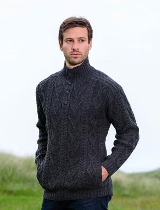 Buttoned Merino Wool Sweater