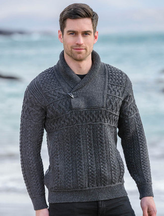 Shawl Neck Toggle Sweater - Charcoal