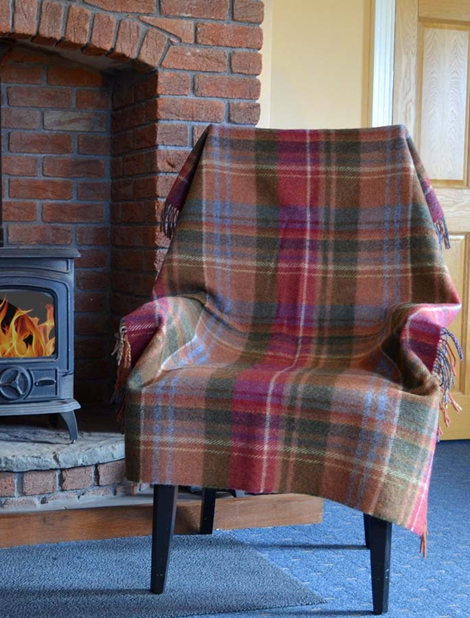 Plaid Wool Throw Rust Cranberry Olive
