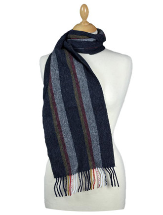 Narrow Lambswool Striped Scarf - Black Red Gold Herringbone
