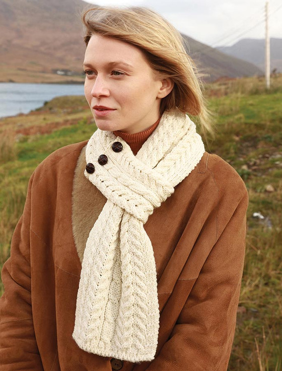 Aran Loop Scarf - Natural White