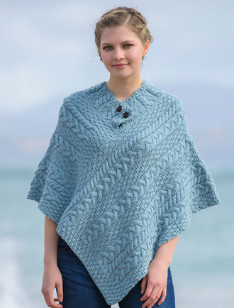 Cable Poncho with Aran Button Detail - Misty Marl