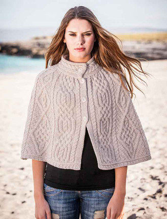 Aran Diamond and Trellis Cape - Parsnip