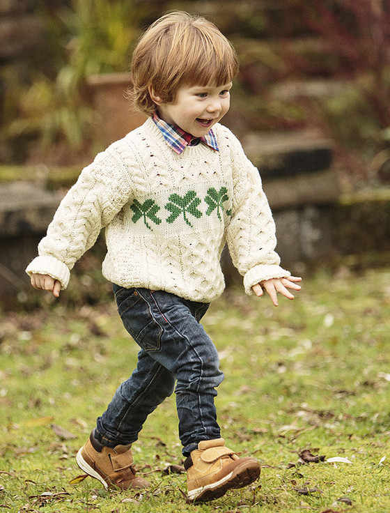 Kid's Merino Wool Shamrock Sweater