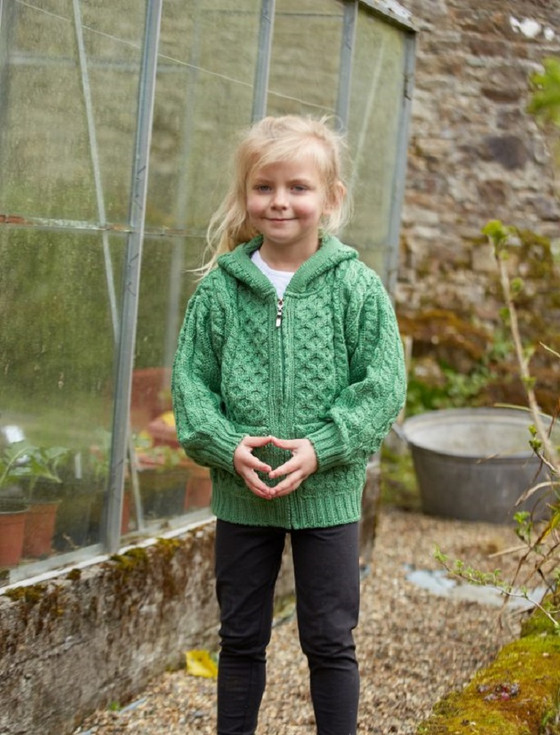 Kid's Hooded Cardigan with Pockets - Green