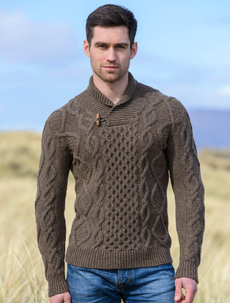 Aran Shawl Neck Fisherman Sweater - Loden