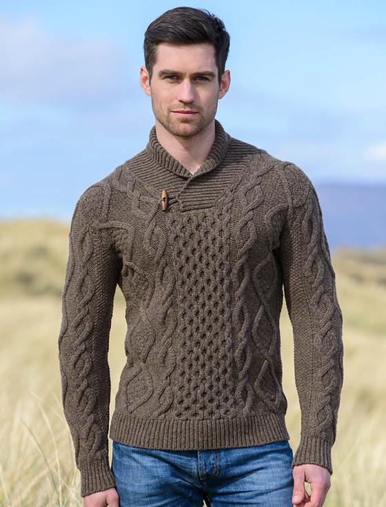 Aran Shawl Neck Fisherman Sweater - Loden